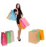 Dziewczyna z torba na zakupy obrazy royalty free