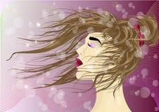 Dziewczyna z włosy w wiatrze Dziewczyna z włosy bawić się w wiatrze royalty ilustracja