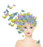 Dziewczyna z włosy motyle Obraz Stock