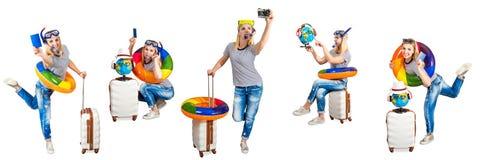 Dziewczyna z walizką iść odpoczywać w gorących krajach Kolaż fotografia stock