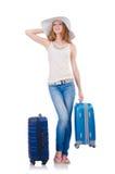 Dziewczyna z walizkami Zdjęcia Royalty Free