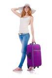 Dziewczyna z walizkami Fotografia Royalty Free
