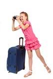 Dziewczyna z walizki i starego stylu fotografii kamerą Zdjęcie Stock