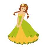 Dziewczyna z warkoczami w zieleni sukni, wektor Fotografia Stock