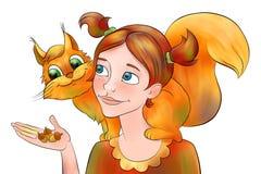 Dziewczyna z wiewiórką Obrazy Stock