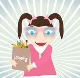 Dziewczyna z zakupami od sklepu Obraz Stock
