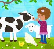 Dziewczyna Z zwierzętami gospodarskimi Fotografia Stock