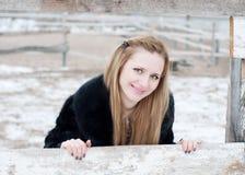 Dziewczyna za ogrodzeniem Obraz Royalty Free