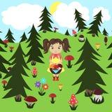 Dziewczyna zbiera pieczarki w drewnie wektor royalty ilustracja
