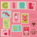 Dziewczynek Znaczek Pocztowy Obraz Royalty Free
