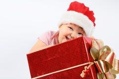 dziewczynka kapelusz s Santa Zdjęcia Stock