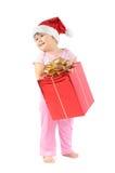 dziewczynka kapelusz s Santa Obraz Stock