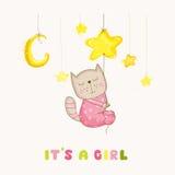 Dziewczynka kota dosypianie dziecko prysznic lub Przyjazdowa karta na gwiazdzie - Zdjęcia Stock