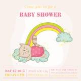 Dziewczynka kota dosypianie dziecko prysznic lub Przyjazdowa karta na tęczy - Fotografia Royalty Free