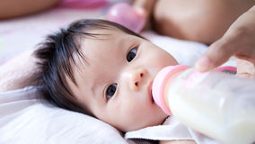 Dziewczynka pije mleko Obraz Stock