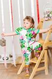 Dziewczynka w modnym kostiumu Obraz Stock