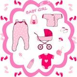 Dziewczynki kolekcja, dziecko prysznic Obrazy Royalty Free