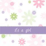 Dziewczynki kwiecista karta Obrazy Royalty Free