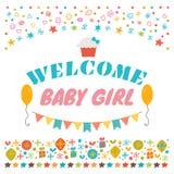 dziewczynki powitanie Zawiadomienie karta Dziecko prysznic kartka z pozdrowieniami royalty ilustracja