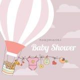 Dziewczynki prysznic karta z gorące powietrze balonem Obraz Stock