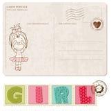 Dziewczynki Przyjazdowa Pocztówka z setem znaczki Zdjęcie Royalty Free