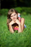 dziewczyny łąka Obraz Royalty Free