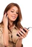 dziewczyny ładny słuchający muzyczny Fotografia Royalty Free