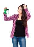 dziewczyny alarmowy piękny zegarowy mienie obrazy stock