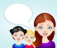 Dziewczyny avatar z mowa bąblem royalty ilustracja