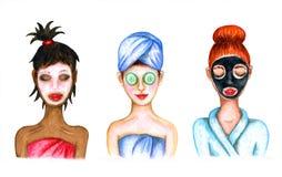 Dziewczyny biorą opiekę one ilustracji