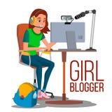 Dziewczyny Blogger wektor Popularny Wideo Vlog, Pozwalał s sztukę, przeglądu kanał Online Leje się wideo Dziewczyna blogów twórca ilustracja wektor