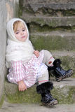 dziewczyny chustki smutny mały biel Obraz Royalty Free