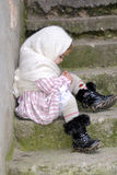dziewczyny chustki smutny mały biel Fotografia Royalty Free