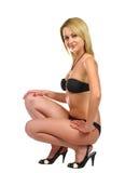 dziewczyny czarny swimsuit Fotografia Royalty Free