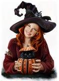 Dziewczyny czarownica i czarny kot Obrazy Royalty Free
