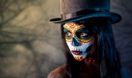 dziewczyny czaszki cukieru tophat Zdjęcia Royalty Free