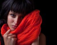dziewczyny czerwieni szalik Zdjęcie Royalty Free