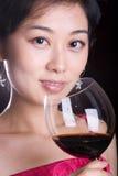 dziewczyny czerwone wino Zdjęcia Royalty Free