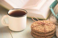 Dziewczyny czytelnicza książka i pić herbata w zimie Obraz Stock