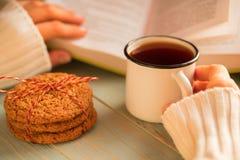 Dziewczyny czytelnicza książka i pić herbata w zimie Fotografia Royalty Free