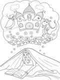Dziewczyny Czytelnicza książka Z latarką Pod koc Na łóżku ilustracja wektor