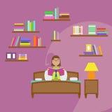 Dziewczyny Czytelniczej książki obsiadanie na łóżku Obraz Stock