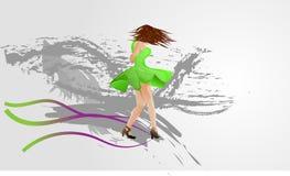 dziewczyny dancingowej pojedynczy white Obraz Royalty Free