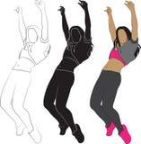 dziewczyny dancingowej pojedynczy white Fotografia Stock