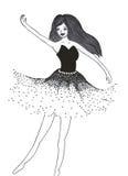 dziewczyny dancingowej pojedynczy white Zdjęcie Royalty Free