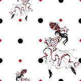 Dziewczyny dancingowy flamenco bezszwowy wzoru gypsy Polki kropki Tło biały wektor ilustracja wektor