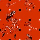 Dziewczyny dancingowy flamenco bezszwowy wzoru gypsy Polki kropki Tło czerwone wektor royalty ilustracja