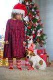 Dziewczyny dziecko świętuje boże narodzenia z psim Jack Russell Terrier przy fotografia stock