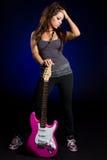 dziewczyny elektryczna gitara Fotografia Stock