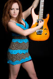 dziewczyny elektryczna gitara Zdjęcia Royalty Free